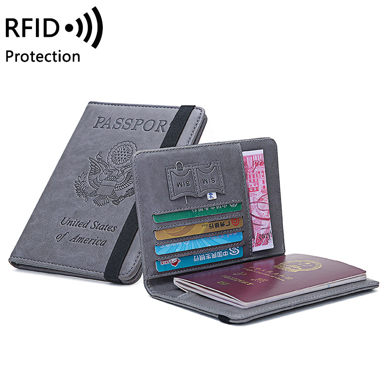 Mcneely RFID USA Travel Passport Cover Unisex Short Wallet Credit Cards Organizer Passport Holder For United States Of America
