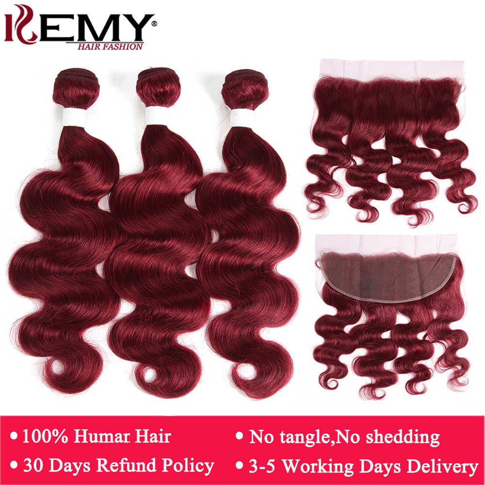 99J/Burgundy Body Wave Human Hair Bundles With Frontal 13x4 KEMY Brazilian Red Color Hair Bundles With Closure Non-Remy Hair