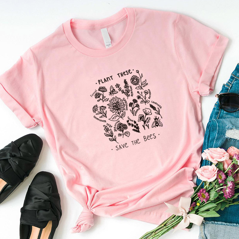 Plant These Harajuku Tshirt Women Causal Save The Bees T-shirt Cotton Wildflower Graphic Tees Woman Unisex Clothes Drop Shipping 12