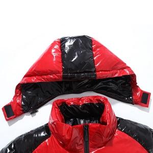 Image 5 - 5XL 7XL 9XL 2020 Nuovo Rivestimento Degli Uomini di Inverno Casual Parka In Pelle Luminosa Outwear Impermeabile Addensare Caldo Del Collare Del Basamento Outwear Cappotto