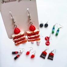 Cake-Earrings Strawberry Food Jewelry Snacks Chocolate School-Accessories Popcorn Women