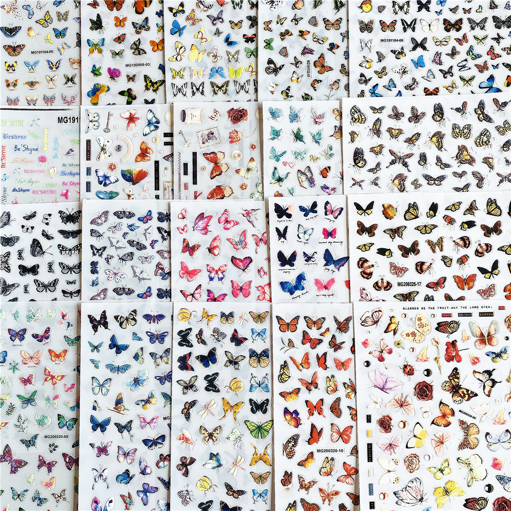 MG200320-05 Colorful Butterfly Floating Butterfly 3D Back Glue Nail Decal Nail Sticker Nail Decoration Nail Art Nail Ornament