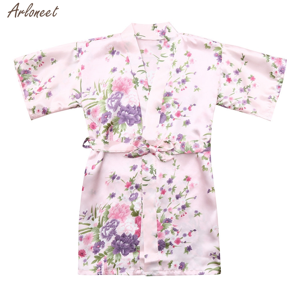 2-3 Years, Hot Pink Lisin Toddler Baby Kid Girls Bathrobe Floral Silk Satin Kimono Robes Sleepwear Clothes