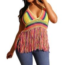 Fashion Rainbow Color Contrast Wool Knit Tassel Sexy Vest Top Elegant Deep V-neck Halter Top  New Arrival Retro Fringe Vest Top fringe decoration lace contrast chiffon top