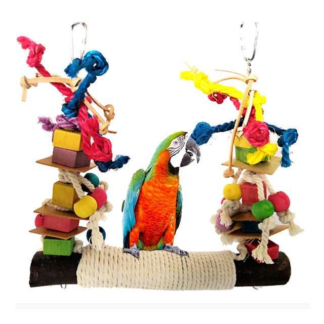 Parrot Chewing Bite Hanging Cage Pet Bird Parrot Chew Toy Bird Perch Leather Colorful Wood Building Block Cotton Rope Big Swing