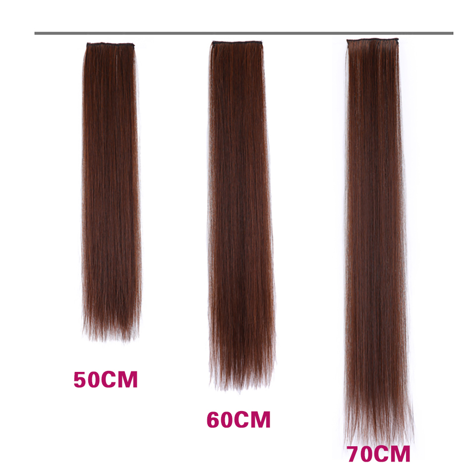 AOSIWIG Hair-Extensions Clip-On High-Temperature-Fiber Straight Long Synthetic 4-Colors
