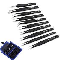 10Pcs ESD Antistatic Tweezers Tool Set High Precision Tip Curved Straight Tweezer Stainless Multifunction Nipper Repair Tool Kit|Industrial Tweezers| |  -