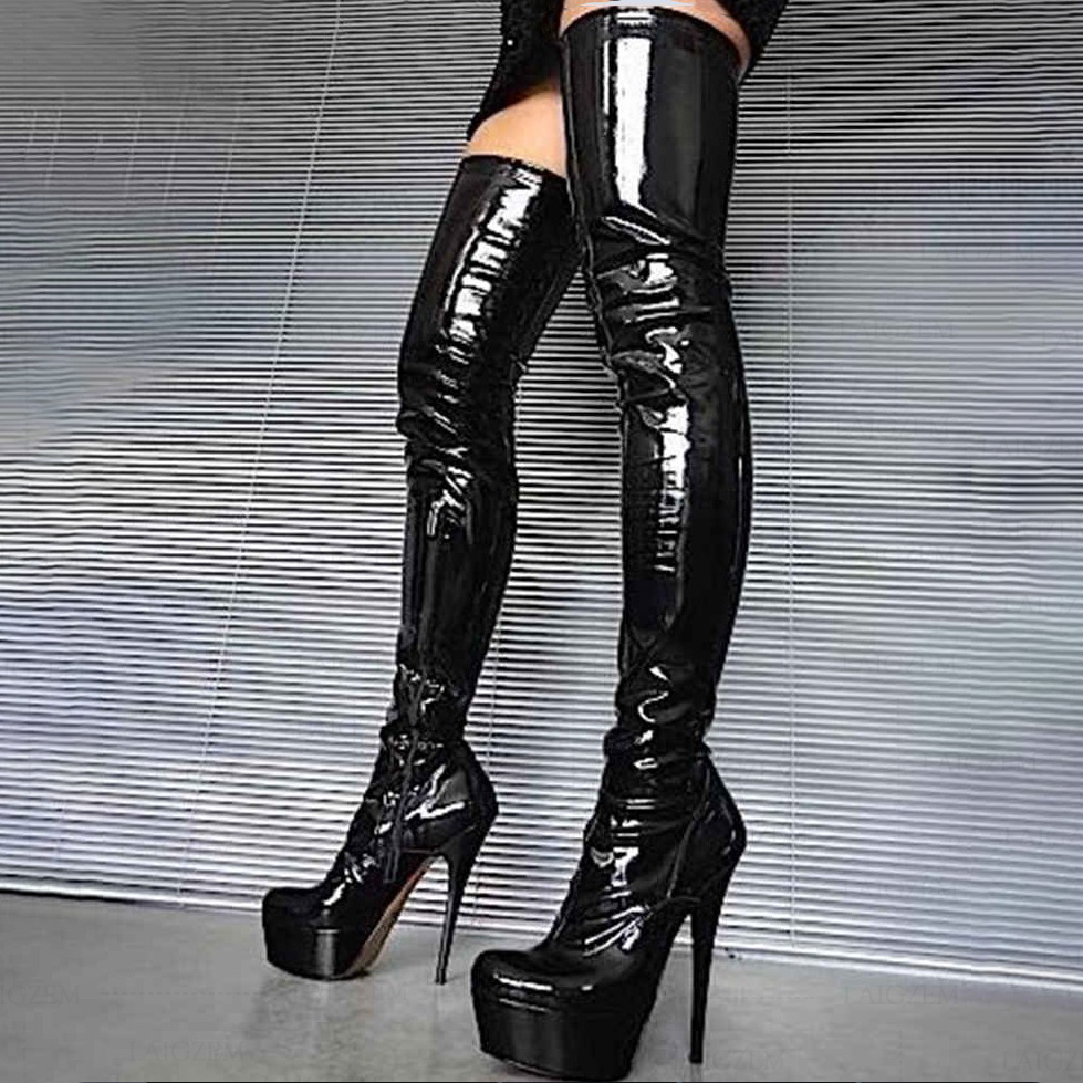 BERZIMER Women Crotch Boots Latex