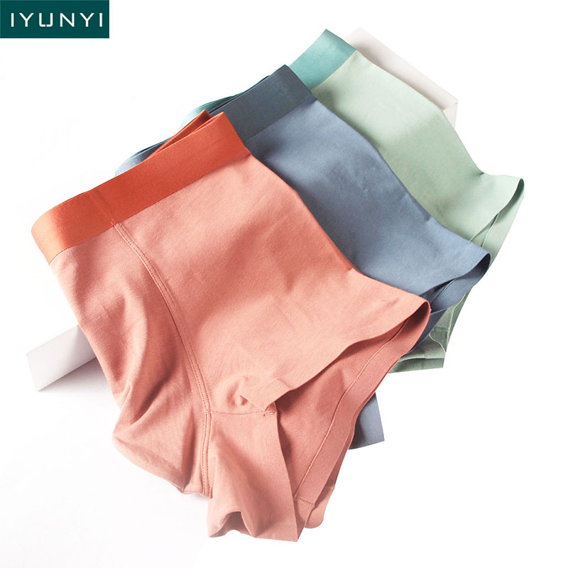 IYUNYI New Fashion Men Underwear Soft Sexy Solid Cotton Breathable Boxers Shorts U Convex Pouch Men Underpants Cuecas Panties