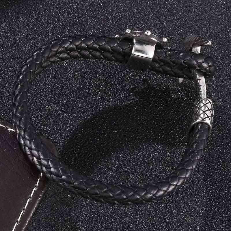 טרנדי עוגן שכבה כפולה צמיד שחור עור קלוע צמידי גברים נירוסטה אבזם יוניסקס להקת יד מתנות SP0182
