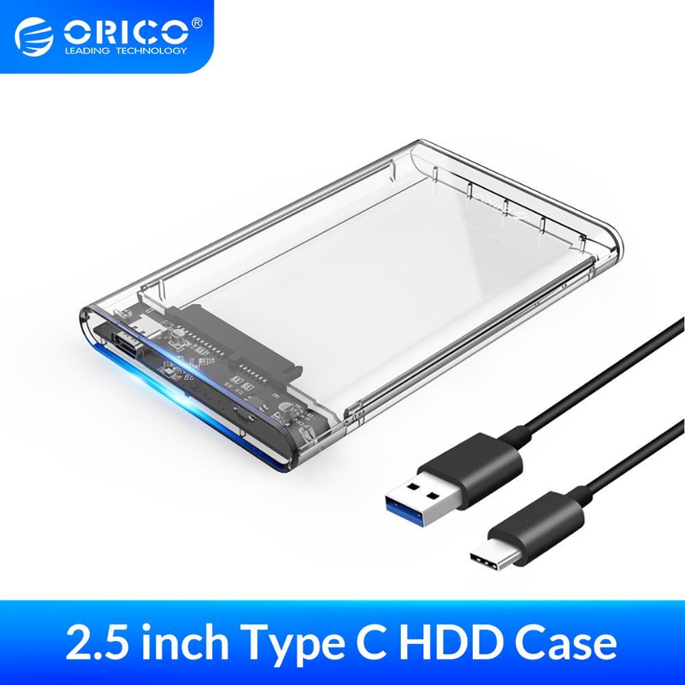 Clear/ ORICO Transparent USB 3.0 External Hard Drive Enclosure for 3.5 inch SATA HDD Supports 12TB UASP SATA III Tool-Free Design