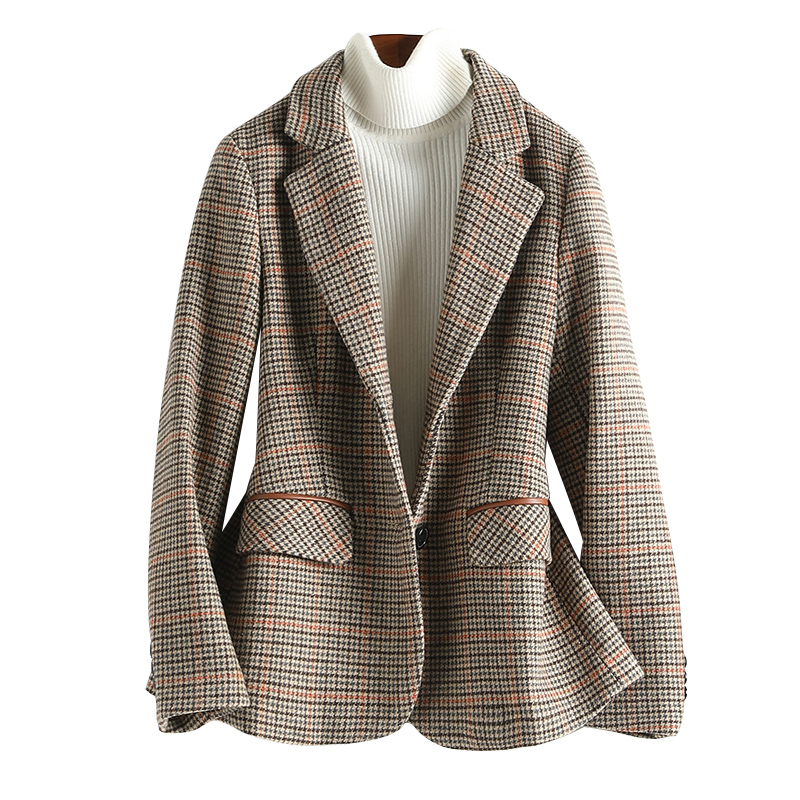 Plaid Brown Korean Ladies Blazer Stylish Casual Loose Suit Jacket Chamaras Mujer Retro Party Women Blazer Large Size MM60NXZ