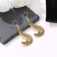 HOCOLE Vintage Tibetan Earrings For Women ZA 2019 Geometric Statement Gold Silver Long Pendant Dangle Earring Indian Jewelry