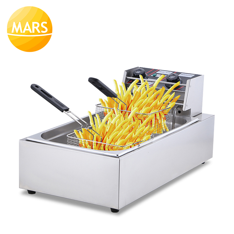 Electric Deep Fryer Commercial Stainless Steel Grill Frying Pan French Fries Machine Potato Chicken Frying Basket 20L Fryer