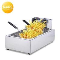 Elektrische Friteuse Commerciële Rvs Grill Koekenpan Frieten Machine Aardappel Kip Braden Mand 20L Friteuse