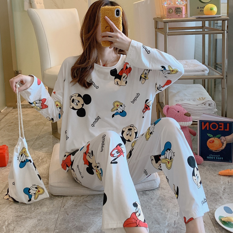 Cartoon Print Spring Autumn Funny Pajamas For Women Loose Casual Pajama Sets For Woman Long Sleeve Trousers 2 Pcs Home Suits