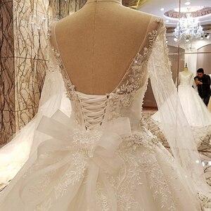 Image 5 - Ls99064 elegante laço vestido de casamento vestido de baile cristal vestidos de casamento robe de mariage 2018 fotos reais
