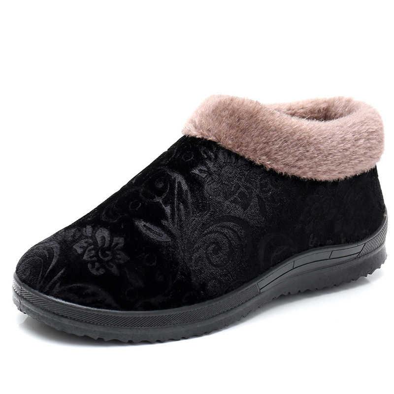 Kadınlar kış sıcak pamuklu ayakkabılar kadın klasik peluş yumuşak anne üzerinde kayma rahat kısa çizme bayanlar platformu kaymaz kadın yeni