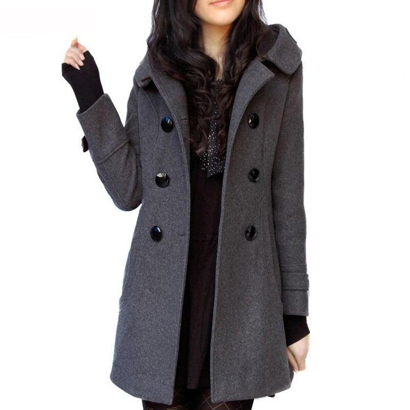Женское шерстяное кашемировое пальто с капюшоном, повседневное тонкое длинное пальто большого размера K142, Осень-зима 2019