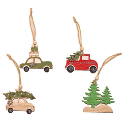 New Year Natural Wood Christmas Tree Ornament Creative Animal Christmas Party Pendant Car Decorations Pendant for Home 2019 6