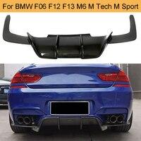 6 סדרת סיבי פחמן רכב אחורי פגוש שפתיים מפזר ספוילר עבור BMW F06 F12 F13 M6 M טק M ספורט 2012 2016 640i 650i-בפגושים מתוך רכבים ואופנועים באתר