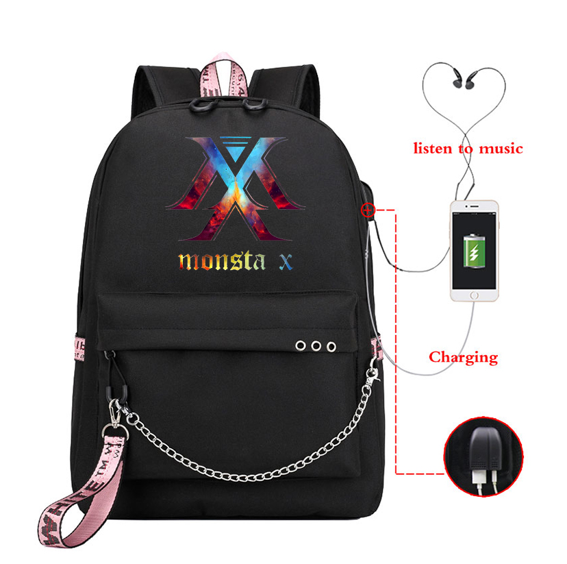 MONSTA X Backpack Usb Charging School Bag Kpop Style Girls Children Students Vintage Designer Travel Bags For Laptop Bagpack