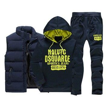 3 Pieces Fur Hooded Fleece Hoodies+Zipper Vest+Sweatpants Winter Thick Warm Tracksuit Men Sporting Tracksuit Coat Sweatsuit 2020 3