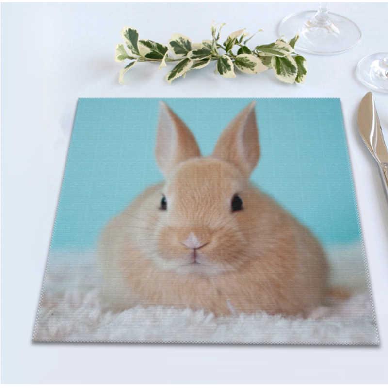 4 unids/lote conejo mantel antideslizante posavasos mesa de comedor mantel almohadillas de mesa cocina herramienta para la decoración del hogar