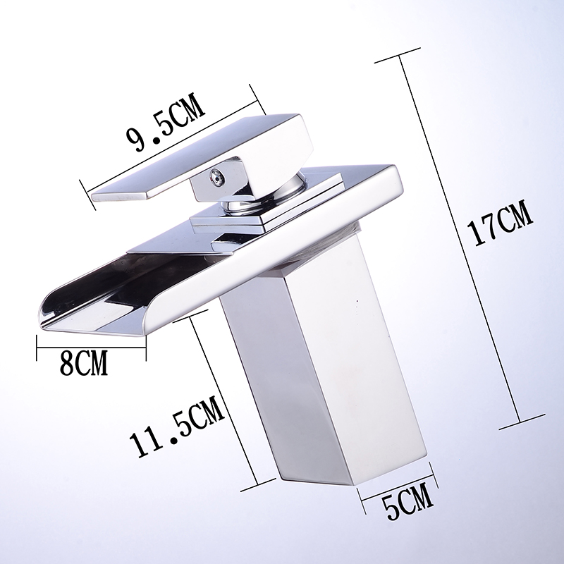 ROVADE Bathroom LED Basin Faucet Waterfall Bathroom Sink Tap Cold and Hot Mixer Crane Chrome ROVADE Bathroom LED Basin Faucet, Waterfall Bathroom Sink Tap Cold and Hot Mixer Crane (Chrome)