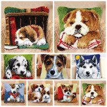 Mandalı kanca köpekler iğne halı nakış yastık Foamiran İğne seti Smyrna yastık düğmesi paketi mandalı kanca kilim kitleri
