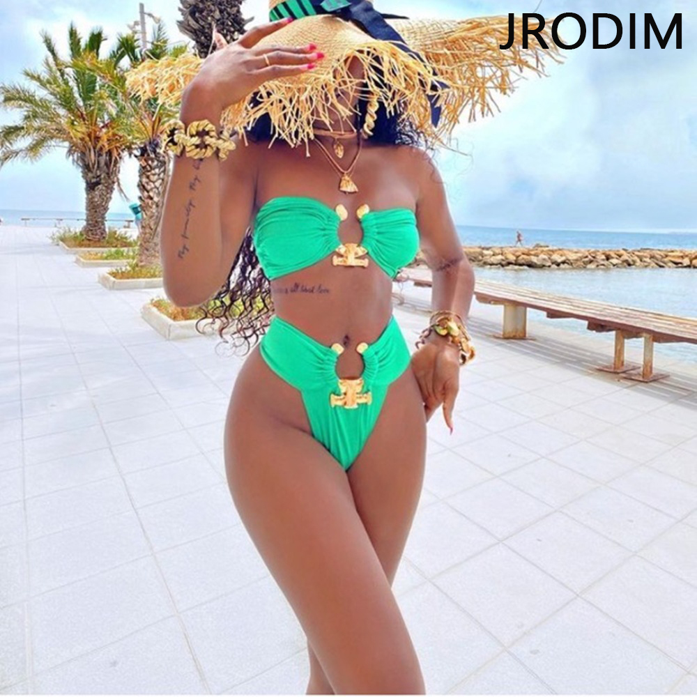 JRODIM 2021 Sexy Crystal Diamond High Waist Bikini Set Women Bandeau Swimsuit female Rings Swimwear Two pieces Bathing Suit