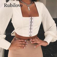 Rubilove Backless Lantern Sleeve Short T-shirt Women Square Collar Long Sleeve Summer Crop Top Women Bow Tie Sexy Women Tshirt long sleeve self tie crop top