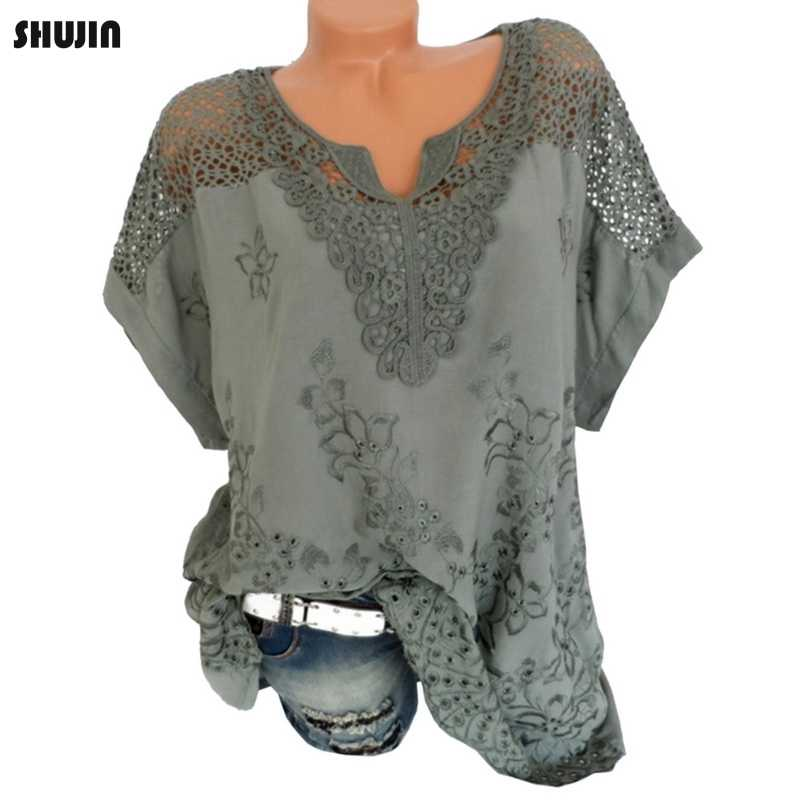 Shujin 5XL Plus Size Vrouwen Floral Lace Haak Blouse Sexy Hollow Out Shirts Top Casual Zomer Korte Mouw Blouses Camisa 2019