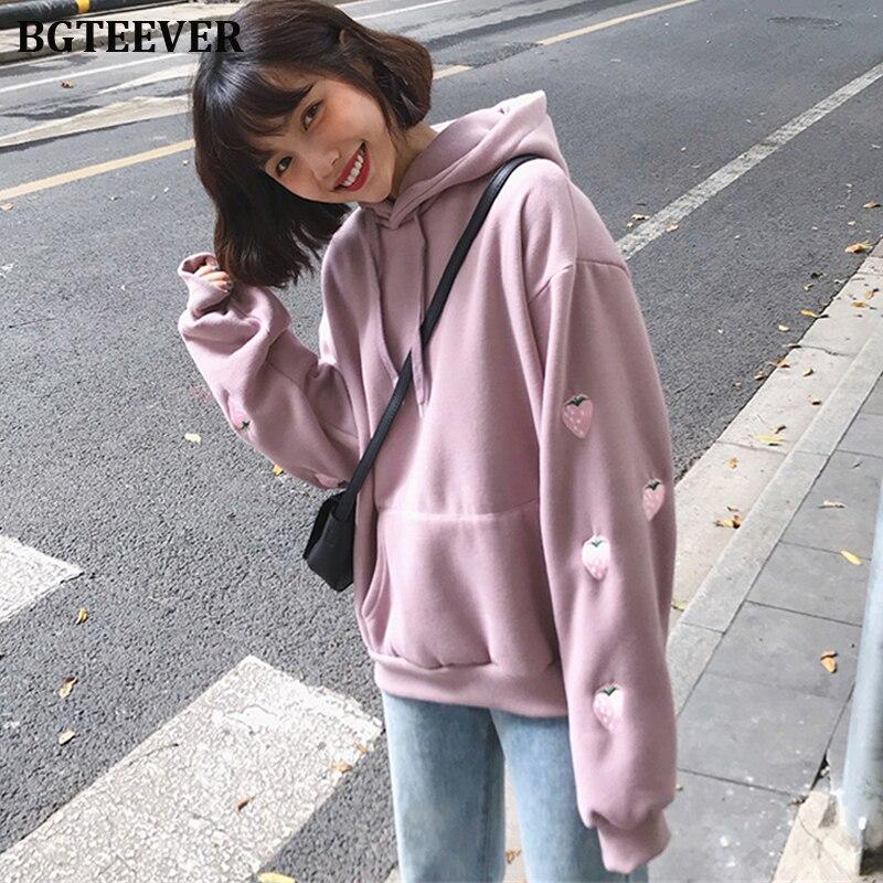 BGTEEVER Strawberry Embroidery Women Hoodies Pockets Full Sleeve Female Sweatshirt Casual Pullovers Sweatshirt Autumn Femme 2019