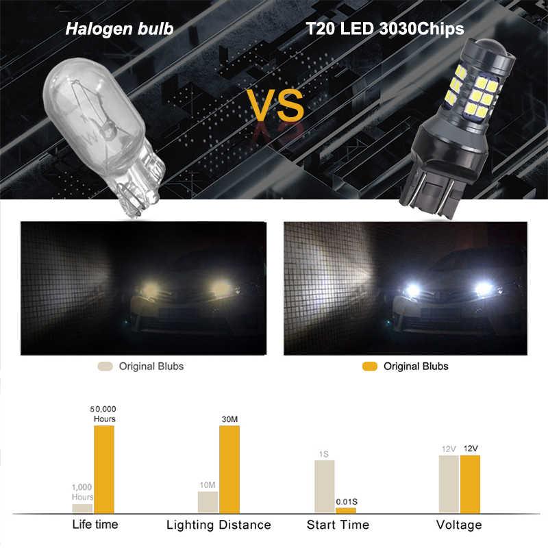 NLpearl 2x Lampe de Signalisation 7440 WY21W W21W Led Canbus Voiture Ampoules 12V 3030SMD T20 LED 7443 W21/5W Led Feux De Recul Feux De Recul