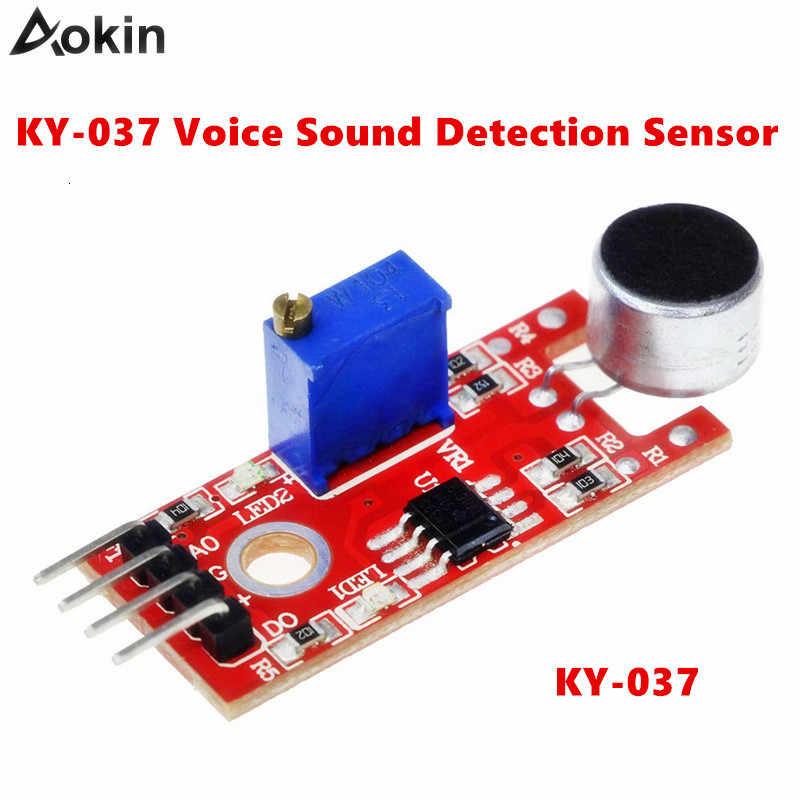 4pin صوت الصوت جهاز استكشاف وحدة KY-037 ميكروفون الارسال الذكية سيارة روبوت لاردوينو لتقوم بها بنفسك عدة حساسية عالية