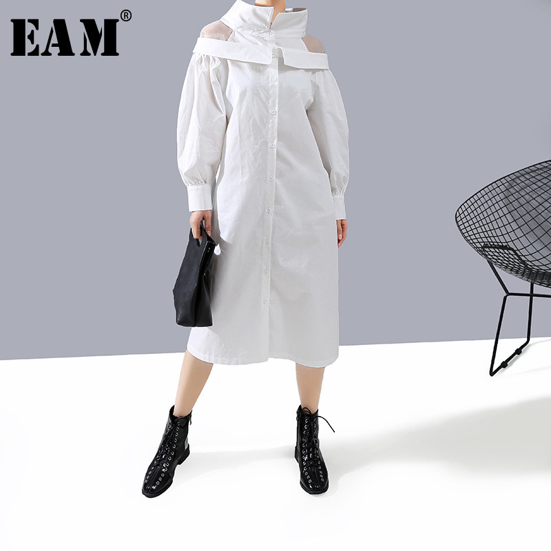 [EAM] Women White Mesh Off Shoulder Shirt Midi Dress New Lapel Long Sleeve Loose Fit Fashion Tide Spring Autumn 2020 1N243