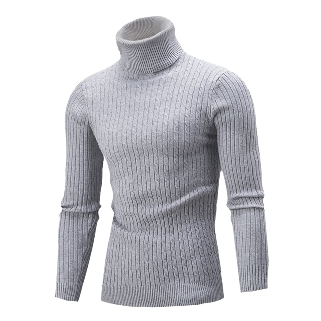 Womail Men's Autumn Winter Turtleneck Sweater Casual Pure Color Slim  Knitting Sweater  Blouse Popular Comfortable Sweater