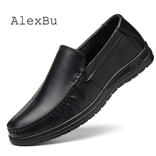 AlexBu 2020 Men Genuine Leather Shoes Man Casual Loafers