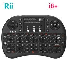 Orijinal Rii Mini i8 + klavye 2.4G kablosuz arkadan aydınlatmalı klavye İngilizce rusça İspanyolca TouchPad hava fare Android TV kutusu PC