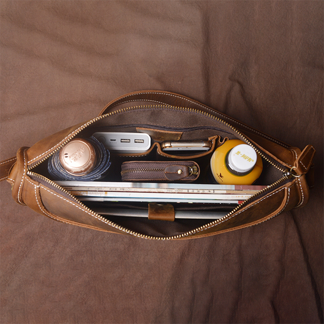 Nupugoo genuine leather for man crazy horse bag  cross section briefcase business vintage shoulder crossbody messenger bags