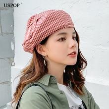 USPOP 2019 New autumn hats women plaid berets female casual bow beret fashion striped solid color