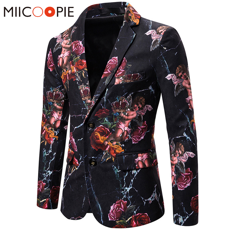 Men Rose Floral Blazers Suits Jackets High Quality Lovely Angel Mens Printed Blazer Euro Size Single Breasted Blazer Masculino