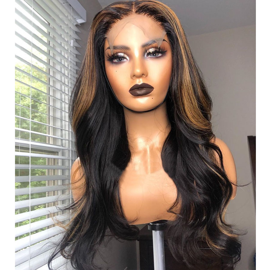 Highlight Colored Brazilian Natural Wave Lace Front Silk Base Wigs with Baby Hair Pre-Plucked Hairline Remy Hair 4*4 Silk Top