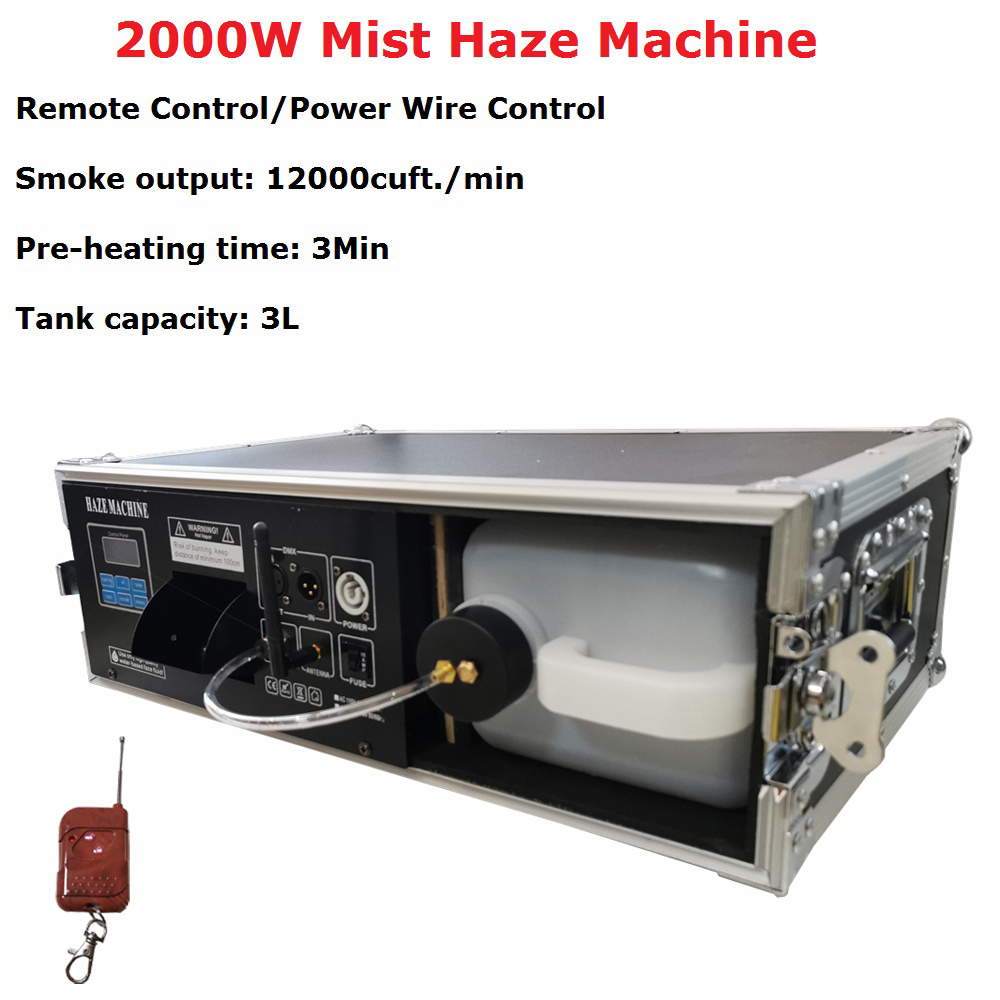 New Heating System 2000W <font><b>Stage</b></font> Mist Haze Machine Remote / DMX Control Flight Case Package <font><b>Stage</b></font> Lighting Effect <font><b>Hazer</b></font> Machine Dj image