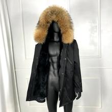 Real fox fur collar rabbit fur lined hooded parka winter mens outwear High quali