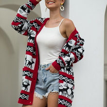 Women Cardigan Christmas Sweater Coat Long Sleeve Winter Knitted Streetwear Fashion New With Pocket