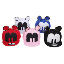 Spot 2019 spring, summer and autumn new Mickey children baby baseball cap fashion hip hop hat letter M shade