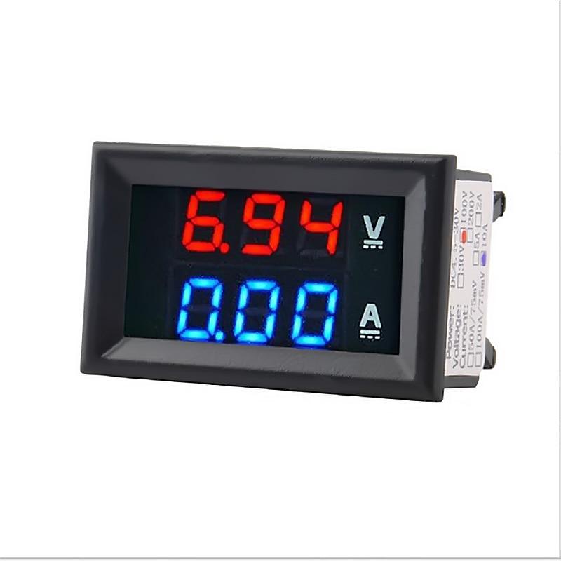 Mini digital voltímetro amperímetro dc 100 v 10a painel amp volt tensão medidor de corrente testador detectar ferramenta azul vermelho duplo display led