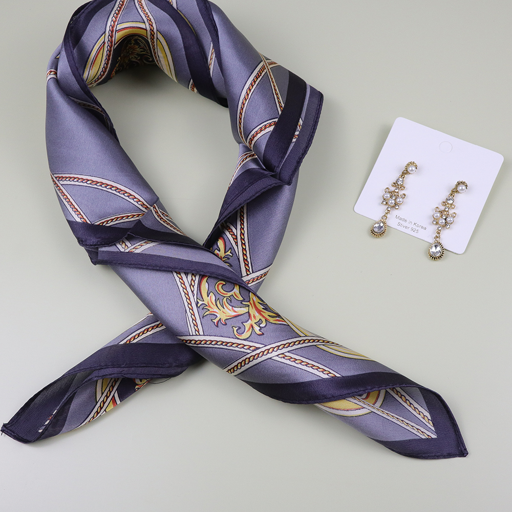 Gray 100% Real Silk 53*53 CM Silk Scarf With Earrings For 8th March Woman's Day Gift
